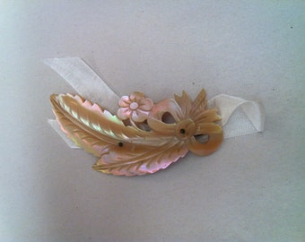 Reserved for Kim Mother of Pearl Brooch MOP Victorian Edwardian Shell Brooch