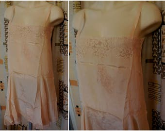 DEADSTOCK Vintage 1920s 30s Lingerie 30s Teddy Slip Step In NWT Negligee NOS Flapper Deco Teddy Silk Lace Unworn M chest 38