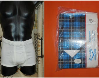 DEADSTOCK 1960s Men's Underwear White Cotton Ribbed Briefs Krawinkel Tighty Whities Unworn German Cotton 549 sz 7 L