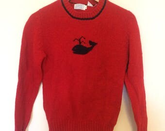 Red Whale Sweater Womens Small Vintage Bright Wool