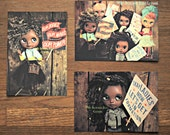"""Blythe Art Photography Print Post Card """"Womens March Series"""" Set of 3"""