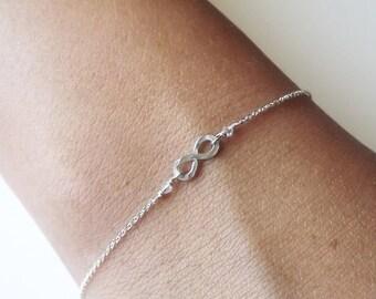 ON SALE Hammered Sterling Infinity Bracelet - Infinity Bracelet - Everyday Bracelet - Bridesmaid Bracelet