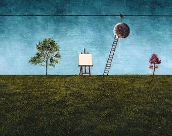"Art Print // Nature - moon - trestle - ladder// ""Spring""."