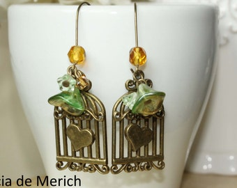 My heart is in a cage earrings -Christmas gift -  coupon code.