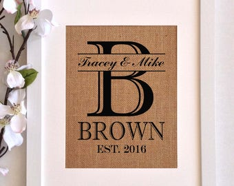 Personalized Burlap Art-  Monogram with Last Name and Est. Date- Perfect Wedding, Anniverary or Shower Gift