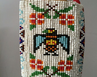Tobacciana /Native American Thunderbird Beaded Cigarette Case / Smoking Accessory / Vintage Beaded Cigarette Pack Sleeve