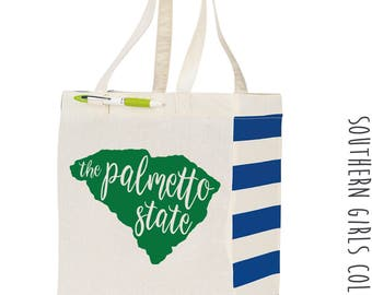The Palmetto Sate South Carolina Cotton Market Tote Bag - Canvas Farmers Market Tote - Reusable Bag - Southern Girls Collection State design