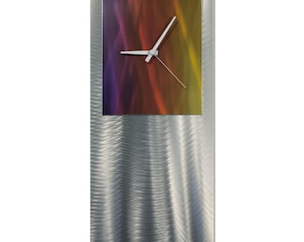 Rainbow Modern Clock 'Sunrise Studio Clock' by Nate Halley - Metal Wall Decor Funky Art Clock on Ground and Colored Aluminum