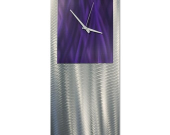 Purple Modern Clock 'Purple Studio Clock' by Nate Halley - Metal Wall Decor Funky Art Clock on Ground and Colored Aluminum