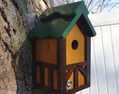 Tudor birdhouse, wood Nesting Box ,Old English bird house, birdhouse with cleanout,handmade, tree mount, post mount, green roof ,Made in USA