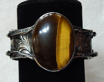 Cuff Bracelet, Hand Engraved, With Tiger's Eye Stone in Center and Barb Wire Border
