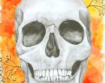 8x10 Art Print-Mixed Media Skull and Branches-Watercolor and Pencil