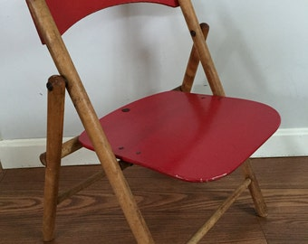 Vintage 1950 Baby Butler Red Wood  Folding Nursery Chair