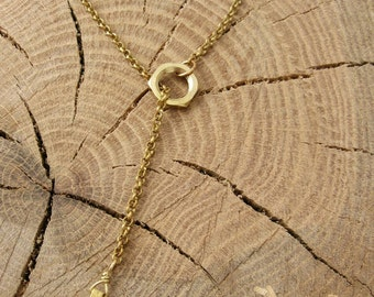 Adjustable Brass Lariat Necklace