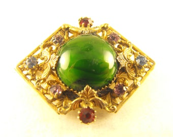 Art Glass Brooch Czech Style Renaissance Revival Baroque Green Glass Cab Rhinestone Accents Open C Clasp Older Brooch Victorian Revival