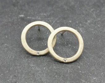 Little sparkle Circles - solid 9ct 9k gold diamond stud post earrings, UK, custom made, hand made