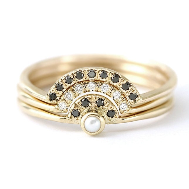 pearl wedding ring set pearl engagement ring with diamonds. Black Bedroom Furniture Sets. Home Design Ideas