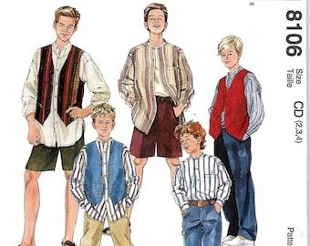 McCall's 8106 Little Boys Shirt, Vest, Pants And Shorts Pattern, Size 2-3-4, UNCUT