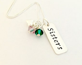 Sisters Necklace - Personalized Hand Stamped Sterling Silver Tag, Hanging Swarovski Birthstone Crystals & Silver Heart - Sister Charms, Gift