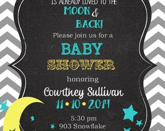 12 Moon and Stars Babby Shower Invitations  to the moon and backInvitation -- any colors