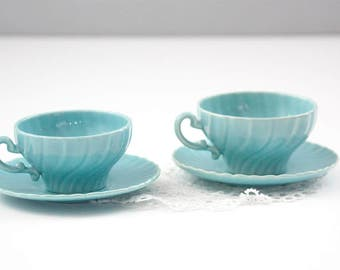 Coronado Blue Tea Cups and Saucers by Franciscan