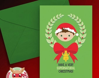 A Very Supernatural Christmas Card - Dean Winchester - PRINTABLE