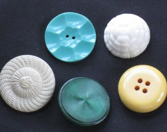 Assortment of Jumbo Size Vintage Plastic Buttons - Mid-Century, Retro - Crafting, Sewing Supplies - Green, Cream, Yellow - Large, Chunky