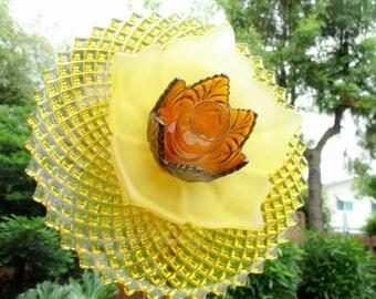 Glorious Golden Amber Garden Art Flower, Outdoor decorations, glass garden art, glass suncatcher, glass plate flower, garden gift