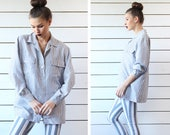 Vintage blue white striped silk simple basic boyfriend oversized shirt blouse