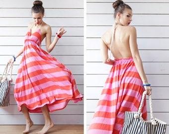 Vintage red pink striped backless low open back deep V decolette beach summer maxi dress S