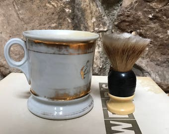 Early 1900's Occupational Barber's Shaving Mug and Brush