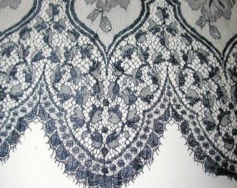 "No. 300 Ethereal Navy Blue Chantilly Solstiss Lace; Single Scallop 23"" x 66"""