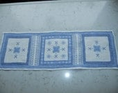 Vintage Swedish hand embroidered table runner - white linen - blue flowers in cross stitch