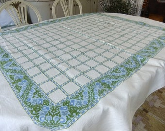 Vintage Swedish hand printed linen tablecloth with flowers in squares - Thistle pattern