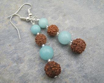 Amazonite Bodhi Seed Earrings, Gemstone Dangle Earrings, Buddhist Earrings, Aqua Blue & Brown Earrings, Nature Jewelry, READY To SHIP