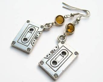 Cassette Tape Birthstone Earrings, Personalized Music Earrings, Retro Earrings,, Mix Tape Earrings, Mixed Tape, 80s Music Lover Jewelry