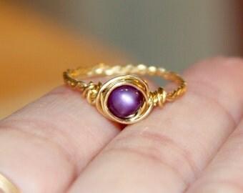 Dark Purple Ring, Purple Thin Ring, Nu Gold Ring, Purple Ring, Purple Wire Wrapped Ring, Wire Wrapped Jewelry, Beaded Ring,