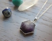 Genuine Amethyst Crystal Necklace Hexagon Cut with 925 Silver Plated Chain - February Birthstone