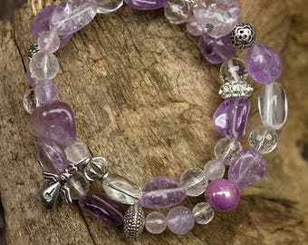 SOLD - Unique bracelet on memory wire with amethyste, crystal quartz rose quartz