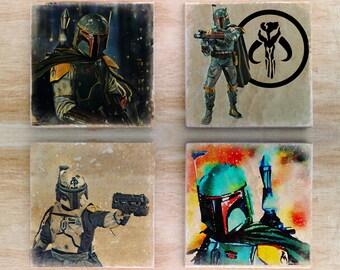 Mandalorians stone coaster set - Star Wars Bounty Hunters Boba Fett fantasy sci fi
