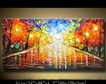 contemporary wall art,, Modern Textured Painting,Impasto  Landscape  Textured Modern Palette Knife Painting,Painting on Canvas by Chen 0223