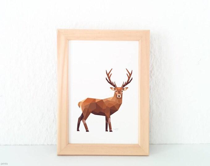 Stag print, Deer illustration, Wild deer wall art, New Zealand deer, Geometric stag, Woodland creatures, Forest animal art, Wildlife art