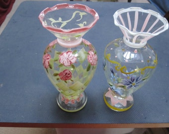 2 Hand Painted Floral Vases