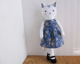 "For 18"" Cat Doll - Pinafore Dress and Mary-jane Shoes Sewing Pattern"
