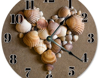 "HEART SHAPED SHELLS Clock - Large 10.5"" Wall Clock - 2102"