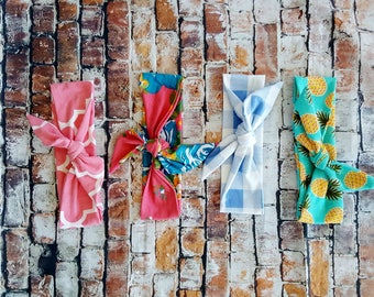 Knot Headband, Head Wrap, Blue and White Check Plaid, Child's Turban, Girls Hair Bow, Coral Floral, Quatrefoil. Summer Hair Newborn to Adult