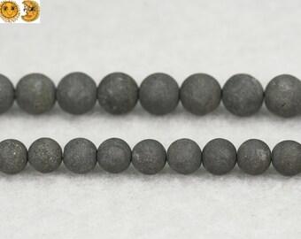 15 inch strand of Iron pyrite matte round beads,golden brass beads 4mm 6mm 8mm 10mm 12mm