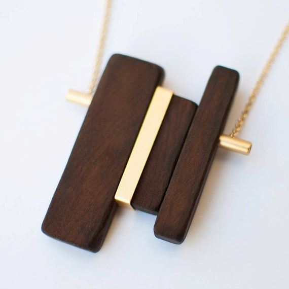 Wood pendant necklace, Wood and gold necklace, One-of-a-kind necklace, Unique necklace, Long gold necklace, Statement necklace