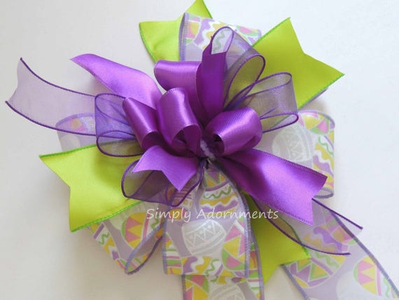 Whimsical Easter Wreath Bow Purple Lime Easter Swag Bow Funky Purple Lime Lantern bow Purple Easter Gift Basket Bow Easter Door hanger Bow