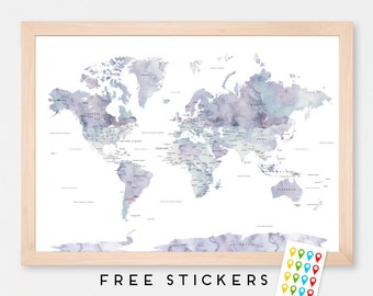 World Map Poster Watercolor Marble  - Travel World Map - Stickers Included  - Gift Idea